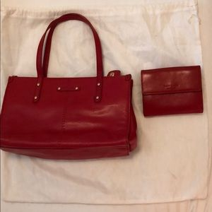 EUC Kate Spade Red Leather Purse and Wallet